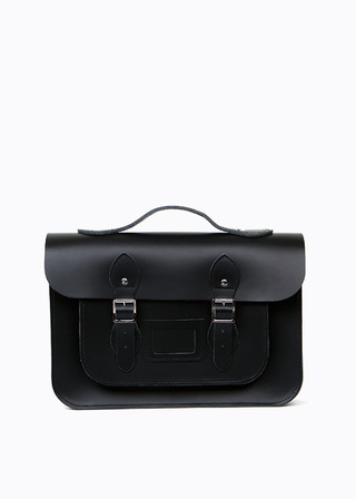 "[LEATHER SATCHEL] No.B#LS1502LEATHER SATCHEL 15"" (black/strap)"
