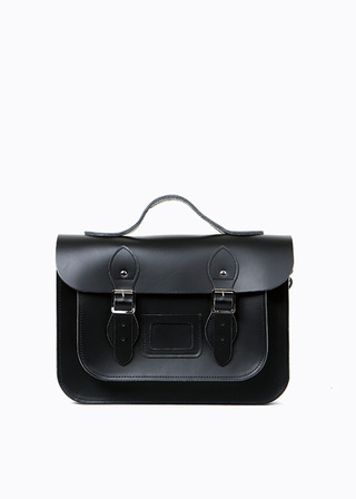 "LEATHER SATCHEL 13"" (black/strap) B#LS1302"
