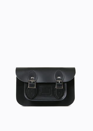 "LEATHER SATCHEL 8.5"" (black) B#LS0801"