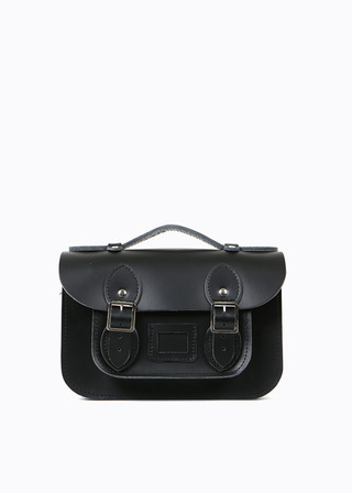 "LEATHER SATCHEL 8.5"" (black/strap) B#LS0802"