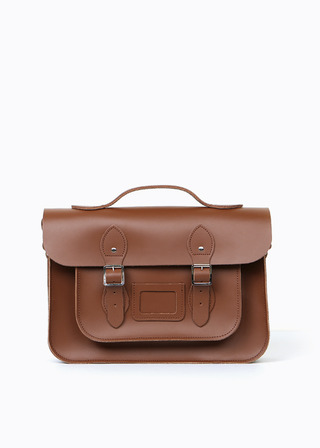 "[LEATHER SATCHEL] No.B#LS1502LEATHER SATCHEL 15"" (brown/strap)"