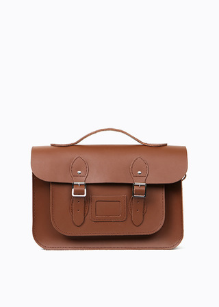 "[LEATHER SATCHEL] No.B#LS1503LEATHER SATCHEL 15"" (brown/3way)"