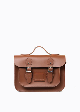 "LEATHER SATCHEL 13"" (brown/strap) B#LS1302"
