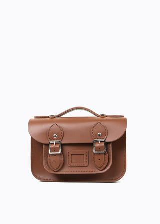 "LEATHER SATCHEL 8.5"" (brown/strap) B#LS0802"