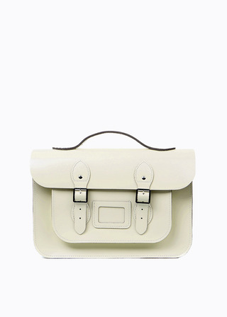 "LEATHER SATCHEL 15"" (IVORY/strap) B#LS1502"