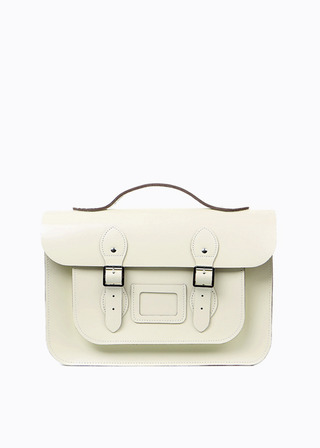 "LEATHER SATCHEL 15"" (IVORY/3way) B#LS1503"
