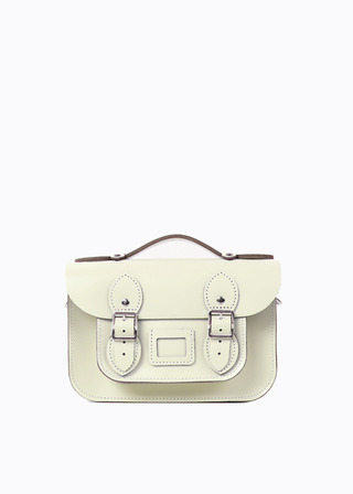 "[LEATHER SATCHEL] No.B#LS0802LEATHER SATCHEL 8.5"" (IVORY/strap)"