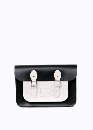 "[LEATHER SATCHEL] No.B#LS1301LEATHER SATCHEL 13"" (COMBI-WHITE)"