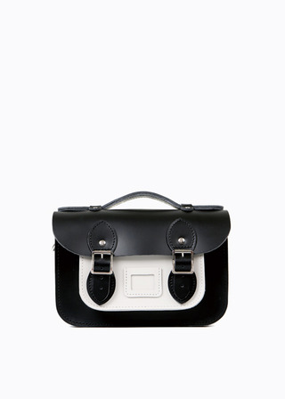 "[LEATHER SATCHEL] No.B#LS0801LEATHER SATCHEL 8.5"" (COMBI-WHITE)"