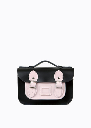 "LEATHER SATCHEL 8.5"" (COMBI-PINK) B#LS0802"