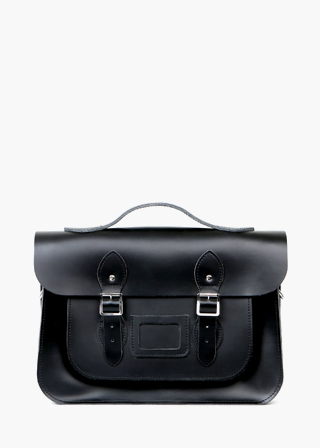 "LEATHER SATCHEL 15"" (BLACK) B#LS1503"